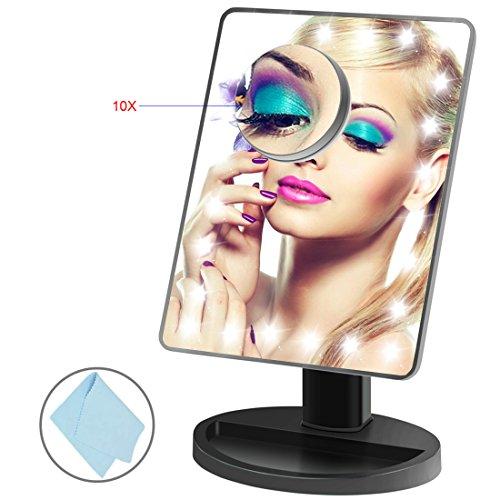 BEQOOL Miroir de Maquillage éclairé avec Super Lumineux 24 LED miroir grossissant Daylight LED 10 fois grossissant Lumière LED Miroir Lumineux Portable Miroir Maquillage Lumineux Rechargeable