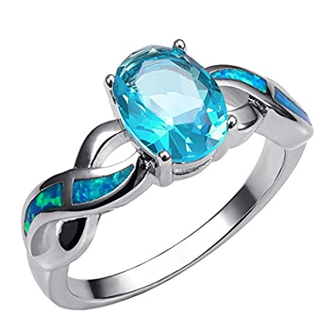 Weinuo Aquamarine Blue Fire Opal Silver Gold Filled Ring Size O