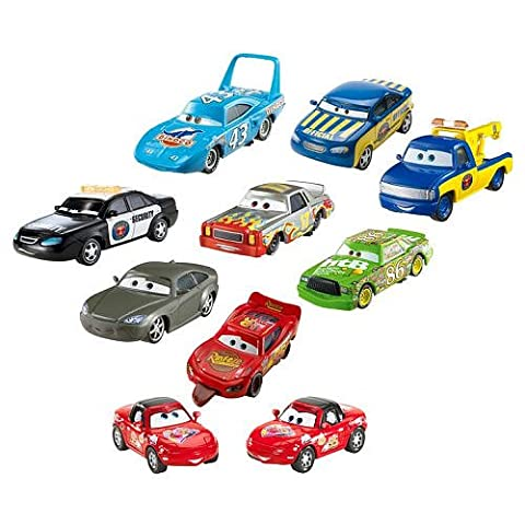 Disney Pixar Cars Movie Disney Pixar Cars Radiator Springs 10 Car Gift Pack Set 3 Way Tie 1:55 Scale Mattel Featuring Finish Line Mcqueen, Chick Hicks, The King, Red Mia & Tia, Race Official Tom, Tow Truck, Darrell Cartrip, Bob Cutlass, Marlon Clutches McKay - Véhicule Miniature - Voiture