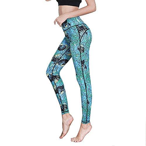 Goodstoworld Yoga Leggings Damen Lang High Waist 3D Gedruckt TUMMY CONTROL Sport Tight für Männer Fitness Joggen Running Gymnastik (Butterfly Capri-hosen)