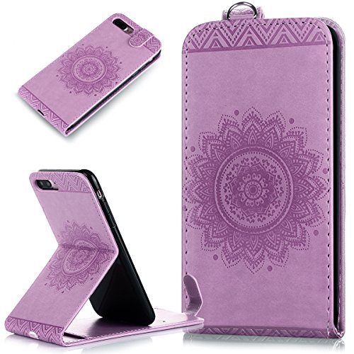 iPhone 7 Plus Hülle,iPhone 7 Plus Schutzhülle,iPhone 7 Plus Leder Hülle,ikasus® Prägung Floral Spitze Blumen Mandala Muster PU Lederhülle Flip Hülle im Bookstyle Cover Schale Slim Fit Soft Silikon Mag Helles Lila