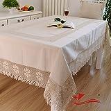 FADFAY Home Textil, Marken-Tischdecke mit Spitze, Baumwolle, Leinen, gewebt, North Fashion Tischdecke rechteckig, European Style Designer Häkel-Tischdecke, rechteckig, baumwolle, weiß, Size:110*110cm,square.