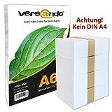 2000 Blatt DIN A6 (105x148mm) hochweißes ökologisches Druck- und Kopierpapier MARKE versando 80 Umweltzertifikat Druckerpapier, Universalpapier, Papier, Notizpapier, Fax und Tintenstrahldrucker und Schreibpapier Notizzettel, (auch als Notiz- und Rezeptpapier) 80g/qm