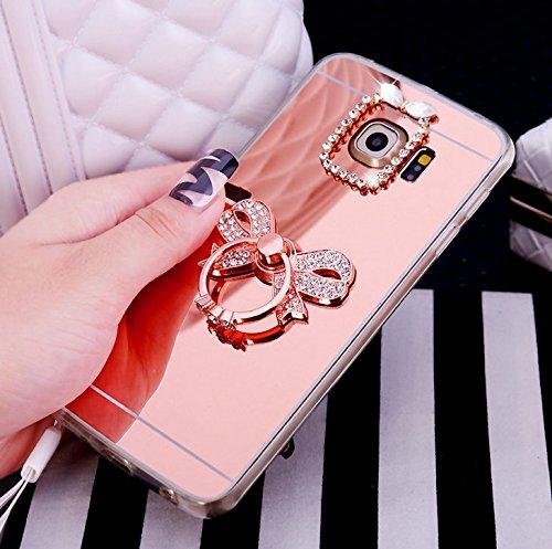 Galaxy S6 Edge Hülle,Galaxy S6 Edge Silikon Hülle Glitzer,Galaxy S6 Edge Schutzhülle,JAWSEU Kristall Diamant Spiegel Handy Silikon Hülle TPU Back Case Schutzhülle für Samsung Galaxy S6 Edge Silikon Hü Bowknot Rose Gold