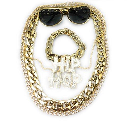 Puff Kostüm Daddy - Panelize® Mega BABO Lude Macho Prolethen Hiphop Rapper Set 5 teilig Ketten Brille Armband