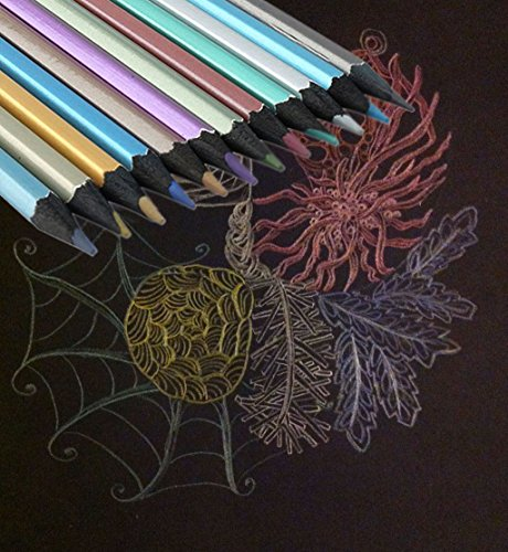 hipiwe-metallic-pencils-non-toxic-black-wood-colored-pencils-for-artist-sketch-secret-garden-colorin