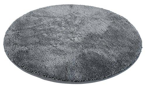 Kinzler J-10001/100 anthrazit Badematte, Mikrofaser, 90 cm rund