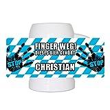 Lustiger Bierkrug mit Namen Christian und schönem Motiv Finger weg! Dieses Bier gehört Christian | Bier-Humpen | Bier-Seidel