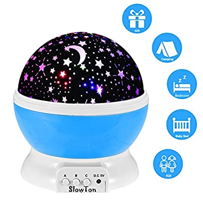 Starry Night Light Lamp, SlowTon Romantic 3 Modes Colorful LED Moon Sky Dreamer Desk Rotating Cosmos Starlight Projector for Children Kids Baby Bedroom - cheap UK light shop.