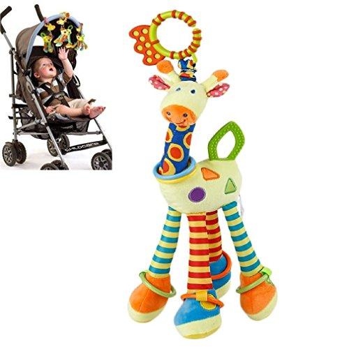 FPVRC Baby Kinderwagen Spielzeug mit Beißring, Bunt Giraffe Stofftier Kleinkindspielzeug Baby Autositz Spielzeug zum Aufhängen Greifen Beißen Spielen und Quietschen - Plüschtier Zahnen Spielzeug ab 0+ Monaten