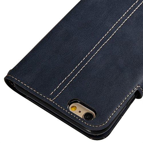 EKINHUI Case Cover Retro Art verrückter Pferd Beschaffenheits-Kasten PU-lederner Schlag-Standplatz-Fall mit Mappen-Beutel-Funktion u. Magnetischer Verschluss u. Lanyard für iPhone 6 Plus u. 6s Plus (  Blue