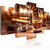 murando - Bilder 100x50 cm Vlies Leinwandbild 5 tlg Kunstdruck modern Wandbilder XXL Wanddekoration Design Wand Bild - Whisky Zigarre 030106-13