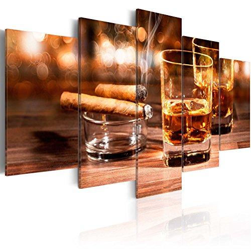 murando - Bilder 200x100 cm Vlies Leinwandbild 5 TLG Kunstdruck modern Wandbilder XXL Wanddekoration Design Wand Bild - Whisky Zigarre 030106-13