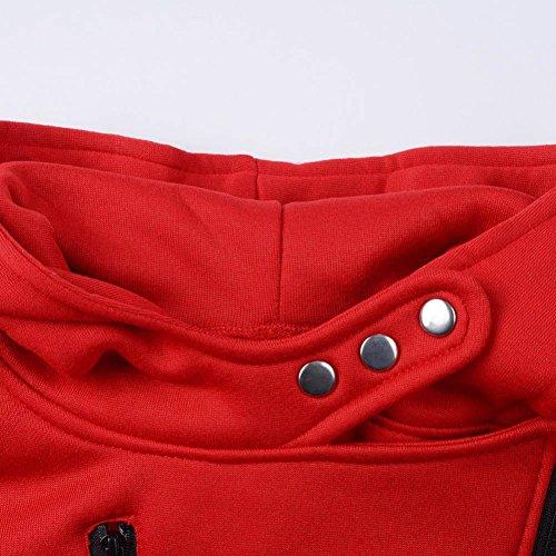 Manteaux Hiver Femme Kolylong Grande Taille Veste à capuche Manteau long Fermeture éclair Sweatshirt Casual Chemisiers Outwear Sport Rouge