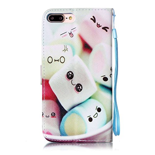 Hülle für iPhone 7 Plus, Tasche für iPhone 7 Plus, Case Cover für iPhone 7 Plus, ISAKEN Malerei Muster Folio PU Leder Flip Cover Brieftasche Geldbörse Wallet Case Ledertasche Handyhülle Tasche Case Sc Emoji Kuchen