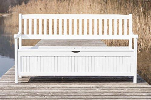 Gartenbank mit Truhe - Truhenbank Eukalyptus weiß lackiert 3-sitzig