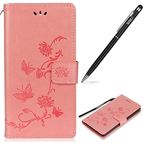 WIWJ Sony Xperia XA2 Ultra Handyhülle,Xperia XA2 Ultra Hülle, PU Cover Case Leder[Impressum Lotus Butterfly Mobile Shell] Hülle für Sony Xperia XA2 Ultra-Rosa Butterfly Shell