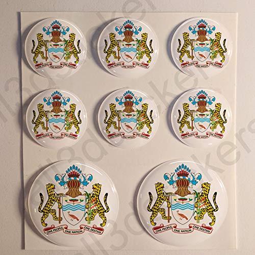 Guyana Aufkleber Harz Gewölbt 8 x Aufkleber von Guyana Rund 3D Kfz-Aufkleber Gedomt Flaggen Fahne ()