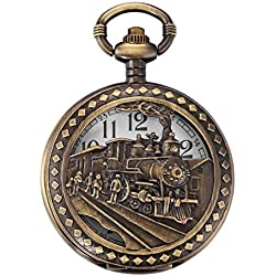 TOOGOO(R) Quartz Pocket Watch, Analog, Bronze Box, with Train Drawing WPK100