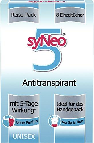 syNeo 5 Antitranspirant-Tücher, Reisepackung Unisex, 1er Pack (8 x 2,5ml) - Tücher Und Frauen-packungen