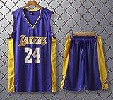 JX-PEP Basketball Uniformen Lakers # 24 Kobe Bryant Retro Basketball Sommer Trikots Fan Shirt-Weste-Sleeveless Sportkleidung Breathable Sport Uniformen,Lila,L