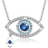 MEGA CREATIVE JEWELRY Damen Kette 'Glücksbringer' Blaues Auge Nazar Boncuk Halskette mit Kristallen von Swarovski Blau Fatimas Hand Fatma Anhänger Geschenkidee für Mädchen