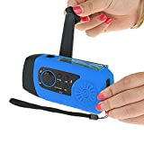 IntiPal FM Solar Radio Solarradio mit Kurbel Kurbeldynamo LED Taschenlampe Notfall Ernstfall USB Handy Ladegerät Camping Outdoor (Blau) - 3