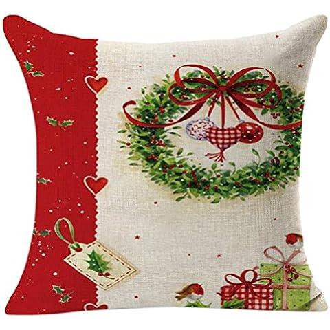 FEITONG Navidad de la vendimia Santa Claus Sofá Cama Decoración Amortiguador de la cubierta Funda de almohada (G)