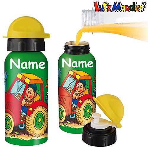 Trinkflasche * TRAKTOR * für Schule und Kindergarten von Lutz Mauder // Bauernhof Flasche mit Namensdruck // Perfekt für Mädchen & Jungen // aus Aluminium (mit Name)