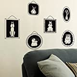 Vinilo decorativo de diferentes cuadros perrunos. Color negro. Medidas: 85x60cm