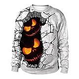 VEMOW Herbst Winter Damen kostüm Halloween Kürbisse 3D Druck Langarm Hoodie Sweatshirt Casual Täglich Halloween Cosplay Party Pullover Top(Weiß, EU-44/CN-XL)