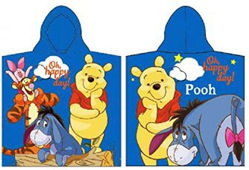 Disney winnie the pooh poncho poncho telo da bagno per bambini, 100%  cotone, blau, 50 x 100 cm