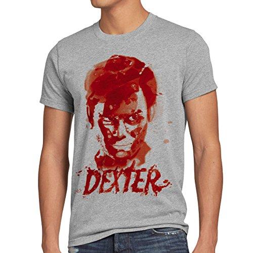 style3 Dexter reguero de sangre Camiseta para hombre T-Shirt erie asesinato morgan, Talla:S, Color:Gris brezo