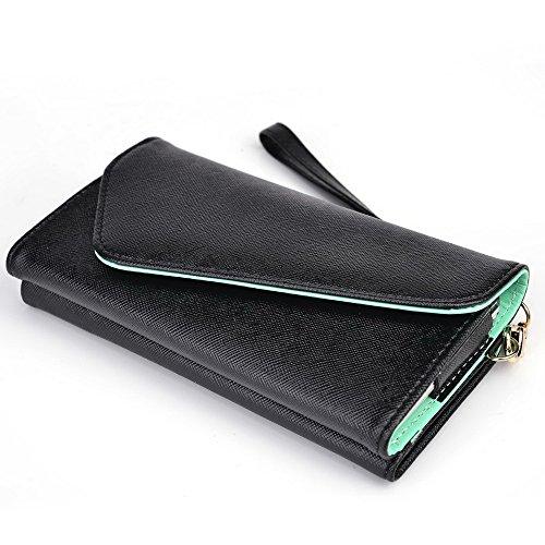 Kroo d'embrayage portefeuille avec dragonne et sangle bandoulière pour Samsung Galaxy S6 Rouge/vert Black and Green