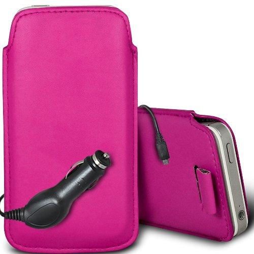 Brun/Brown - Xiaomi Redmi 1S Housse deuxième peau et étui de protection en cuir PU de qualité supérieure à cordon avec stylet tactile par Gadget Giant® Rose/Pink & Car Charger