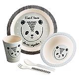 Set de 5 pièces en fibre de BAMBOU : Coffret Mon premier repas - Coloris BLEU