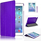 SweesUltra Slim Apple iPad Air (5th 2013 Version) Case Cover, Full Protection Smart Cover for iPad Air iPad 5 5th With Magnetic Auto Wake & Sleep Function + Screen Protector & Stylus Pen - Purple
