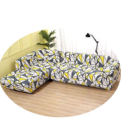 1/2 Pieces Sofa Cover Set Geometric Couch Cover Elastic Sofa Cover for Living Room Pets Corner L Shaped Chaise Longue Sofa Cover Color 3 3-Seater 190-230cm (Denim Recliner Cover)