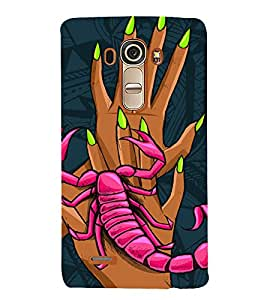 SCORPION CLIMBING ON HANDS OF A GIRL IN ABSTRACT BACKGROUND 3D Hard Polycarbonate Designer Back Case Cover for LG G4 :: LG G4 H815
