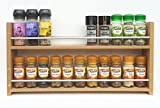 SilverAppleWood Eiche massiv Spice Rack–nimmt bis zu 22Gewürz- und Kräuter Gläser–Tiefe Kapazität für größere Gläser und Flaschen–2Ebenen/Regalen