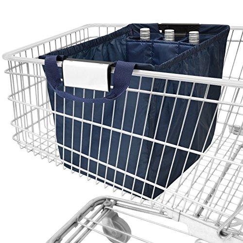 achilles Easy-Carrier, faltbare Einkaufswagentasche mit Kühleinsatz und 3 Flaschenfächer, Einkaufstasche passend für alle gängigen Einkaufswagen, navy, 54x35x39 cm (Shopping Bags, Papier)