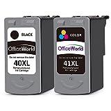 OfficeWorld Remanufacturé Canon PG-40 CL-41 Cartouches(1 Noir, 1 Tri-couleur) Compatible pour Canon PIXMA iP1200 iP1700 iP2200 iP2400 iP2500 iP2600 MP210 MP220 MX300 MX310, MultiPass 450 MP150 MP160