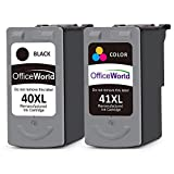 OfficeWorld Remanufactured Canon PG-40XL CL-41XL Druckerpatronen Hohe Kapazität Kompatibel mit Canon Pixma iP1200 iP1300 iP2200 iP2500 MP140 MP150 MP160 MP170