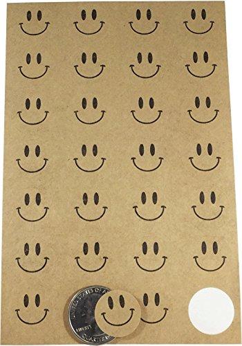 Marrón Kraft Smiley Cara Circulo Punto Pegatinas, 19 mm 3/4 Pulgada Redondo, 10 Hojas de 28 Pegatinas, 280 Etiquetas Totales
