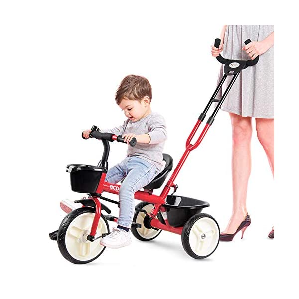 GSDZSY - 2 In 1 Children Tricycle Kids Trike,Push Rod Detachable And Control Direction,Seat With Seat Belt,Suitable For Babies 18 Months To 5 Years Old,Blue_B GSDZSY ❀ Material: high carbon steel + ABS + EVA wheel, maximum load 30 kg ❀ Features: The push rod can adjust the height and control direction, suitable for people of different heights; the seat has a seat belt. ❀ Performance: high carbon steel frame, strong and strong bearing capacity; EVA wheel is non-slip wearable, suitable for all kinds of road conditions, good shock absorption, baby ride more comfortable 4