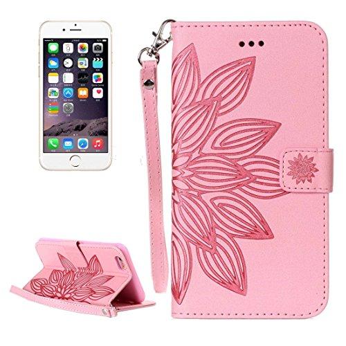 GHC Cases & Covers, Für iPhone 6 & 6s Crazy Horse Texture Half Flower Printing Horizontale Flip Leder Tasche mit Halter & Card Slots & Wallet & Lanyard ( Color : Brown ) Pink