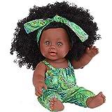VNEIRW 12 inch Lebensecht Schwarze Puppen Mädchen Waschbar Reborn Babypuppe Realistische Baby Puppe mit Schwarzes lockiges Haar und Haarband (Grün)