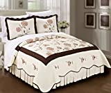 BNF HOME Classic Embroidered Chocolate Sun Flowers Cotton Bedspread/Quilt Set (King) - Best Reviews Guide
