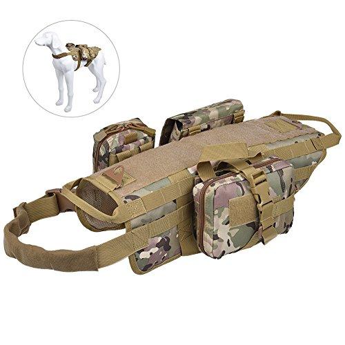Petacc Hundetasche Hund Rucksack Wandern Hundegeschirr für Mittlere und Große Hunde für Camping, Jagd Outdoor Aktivitäten (M, Camouflage)