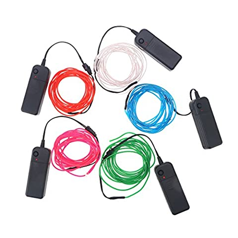 LED Rope Lights 5pcs Set Wire Red Blue Green White Pink Neon Light Battery Powered Portable Rope Light for Halloween Christmas Parties Decor 3M